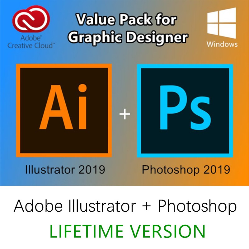 [Graphic Design Package] Adobe Photoshop CC + Illustrator CC 2019 for  Windows