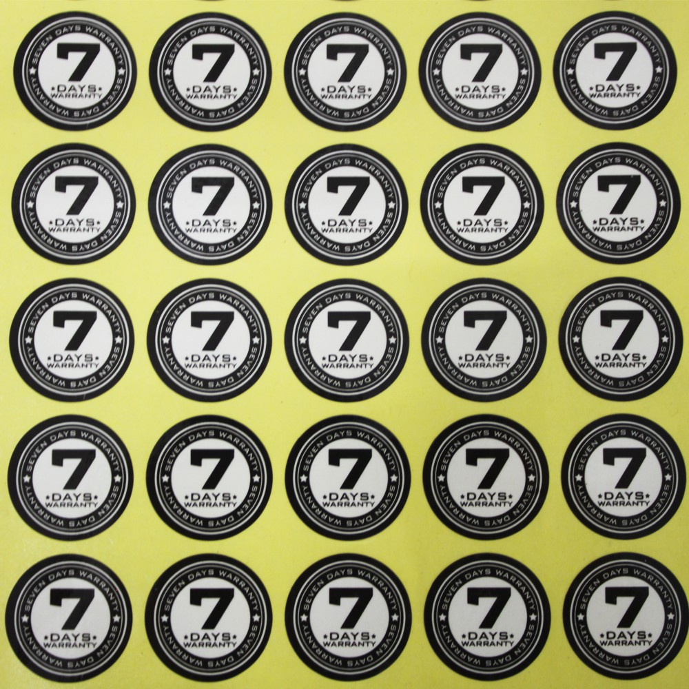 7 Days Warranty Label Sticker (Diameter 20mm) 500pcs & 1000pcs