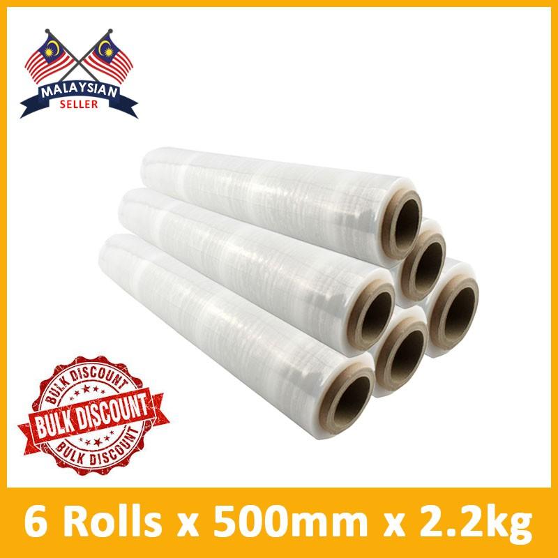 (500MM x 2 2kg) Stretch Film (core 200g + Net 2kg) x 6 ROLLS