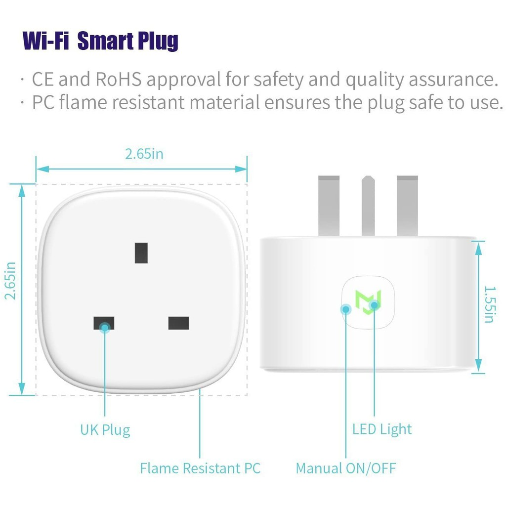 Meross Smart Plug WiFi Socket Work with Alexa Echo, Google Home, Smart Plugs with Energy Control No Hub Required 13A (2-