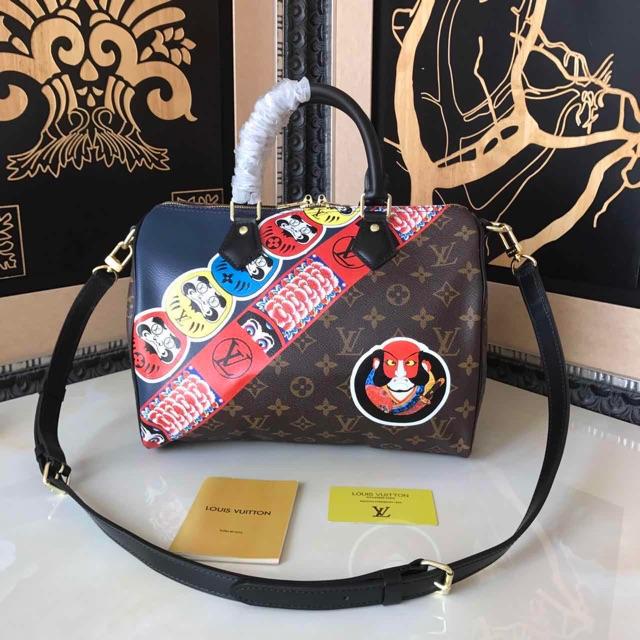 fa976c69a6f95 Louis Vuitton Monogram Canvas and Epi with Kabuki Stickers Speedy ...