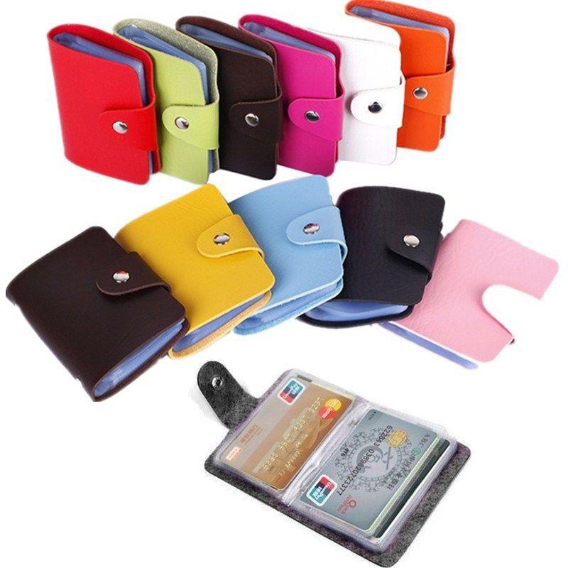 PU Leather 24 Bits Card Case Business Card Holder Credit Passport Bag