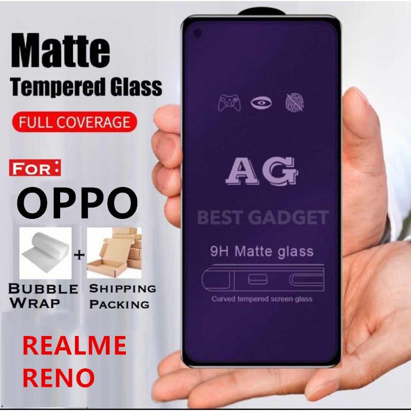 (MattBlueray) Oppo Reno 2 3 Pro 4 10x Realme C2 C3 C11 C12 X2 PRO X3 XT X50 AG 9H 9D Matt Blueray Tempered Glass