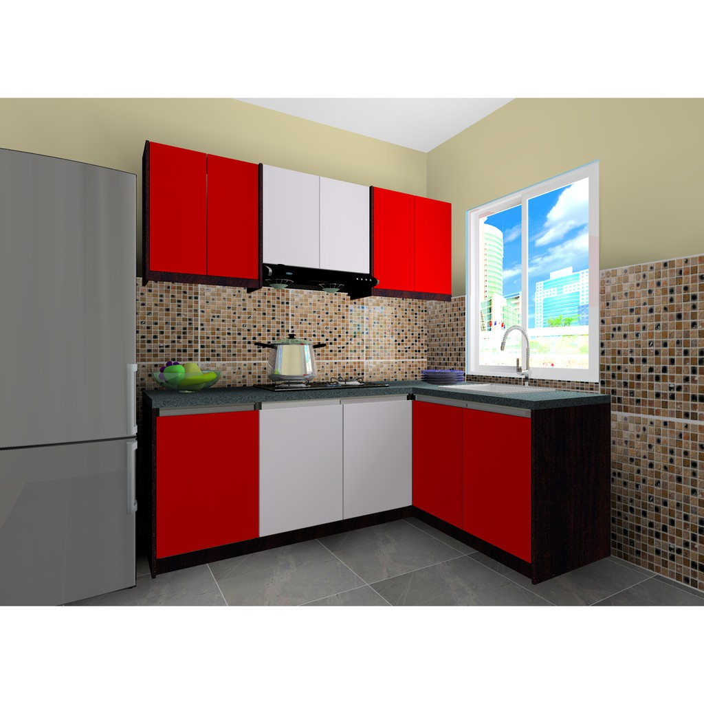 Ready Made Melamine L Shape Kitchen Cabinet Package