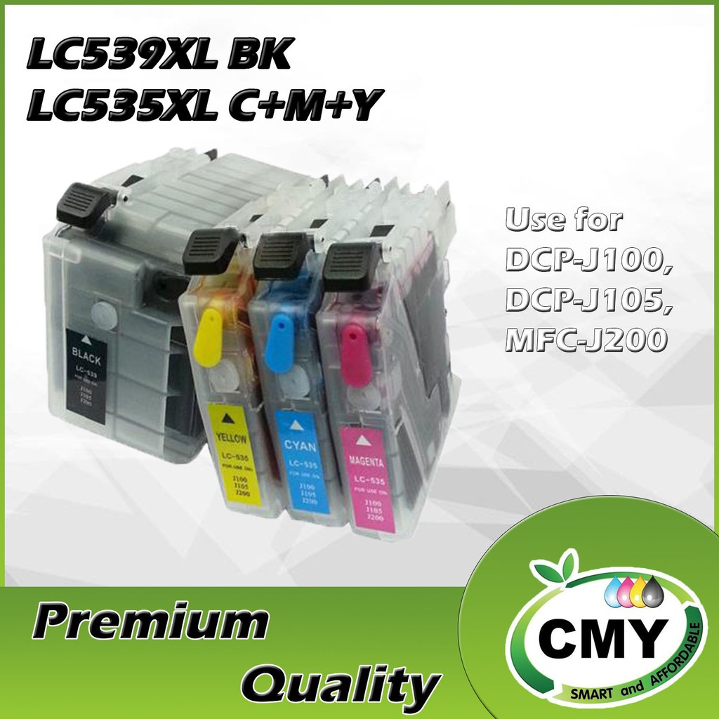 Brother LC539XL LC535XL Combo Set Compatible (BCMY) DCP-J100 DCP-J105 MFC-J200 - Short