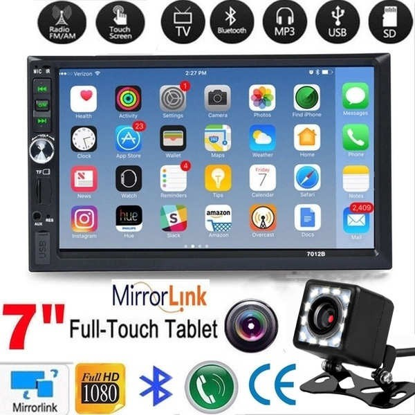 7012B 3rd 7 Inch HD 2 Din Touch Screen Car Radio Bluetooth Stereo Audio  Multimedia MP5 Player with Rearview Camera