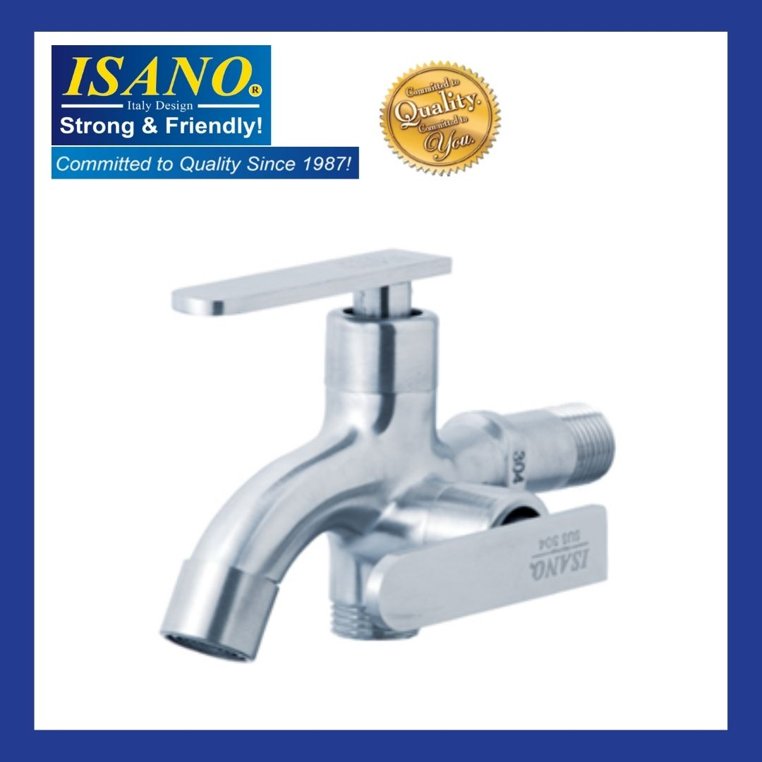 ISANO SUS304 1000TW  Stainless Steel Two Way Water Washer Tap /Kepala Pipe Dua Way
