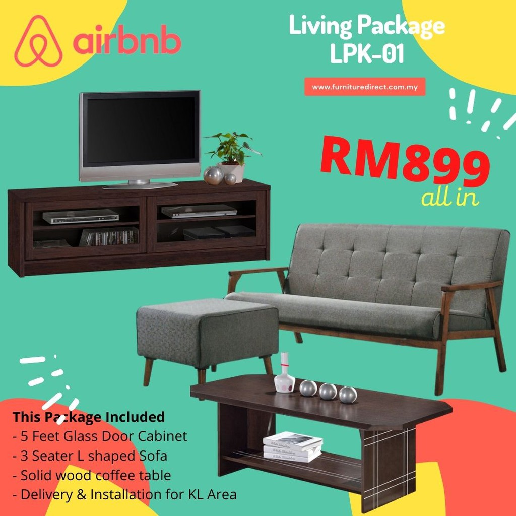Living Room Package / Home Package / Living Package / Sofa Set / TV Cabinet / Coffee Table / Perabot Pakage