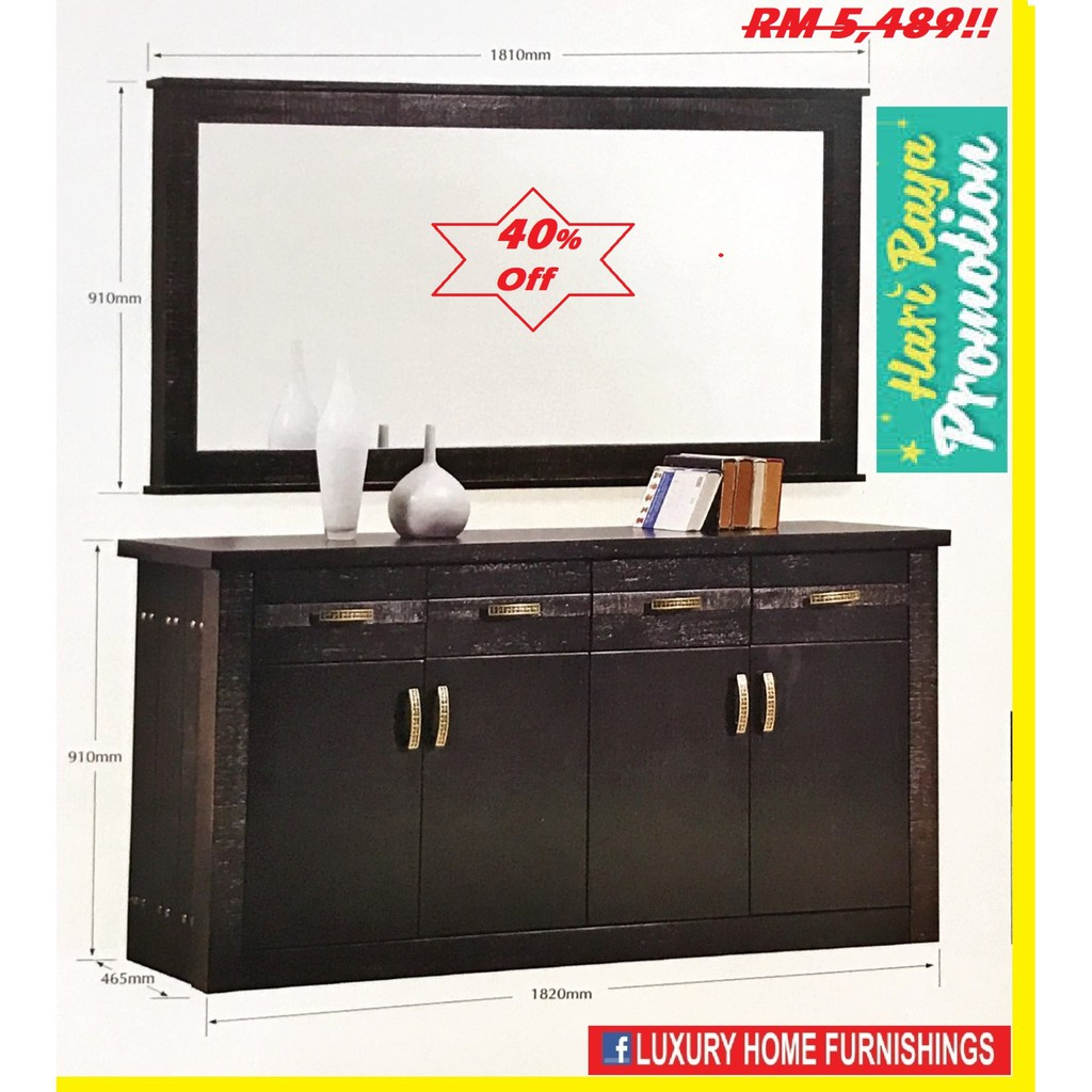 OSAKA  6ft SOLID WOOD BUFFET SET( SIDE BOARD + MIRROR), Color: WENKY RM 5,489!! 40% OFF!!