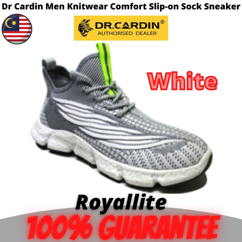 Dr Cardin Men Knitwear Comfort Slip-on Sock Sneaker (F-SA-3) Black & White