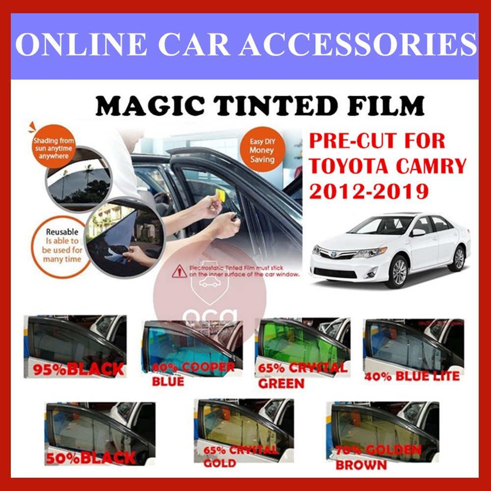 Toyota Camry 2012-2019  - Pre-Cut Shape Magic Tinted Solar Tinted (4 Windows & 2 Triangle /4 Windows+Rear)