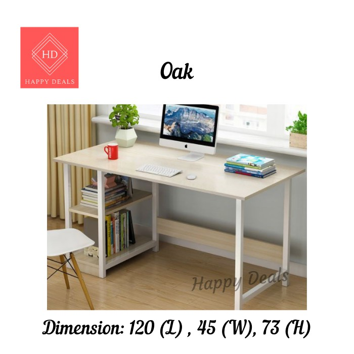 Happy Deals THE Study Deck Writing Desk Office Table With Book Shelf 2 Tiers