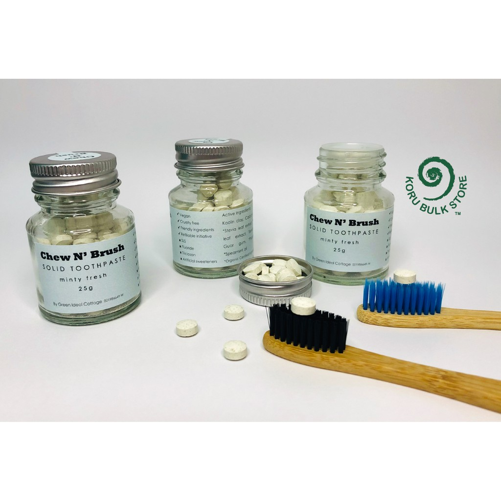 """Chew N' Brush"" Solid Toothpaste Tablet with Jar- Minty Fresh 25g"