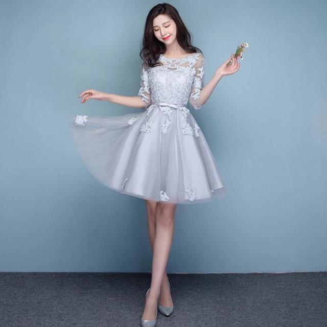 70dbd3f21ac47 Silver Lace Mini Dinner Dress