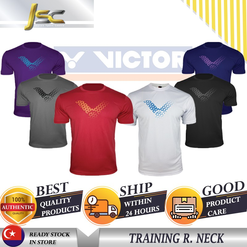 [100%AUTHENTIC] VICTOR Badminton Tshirt 210105(A) Plain Tee Series Jersey  Baju Sukan Polyester Fabric Round Neck