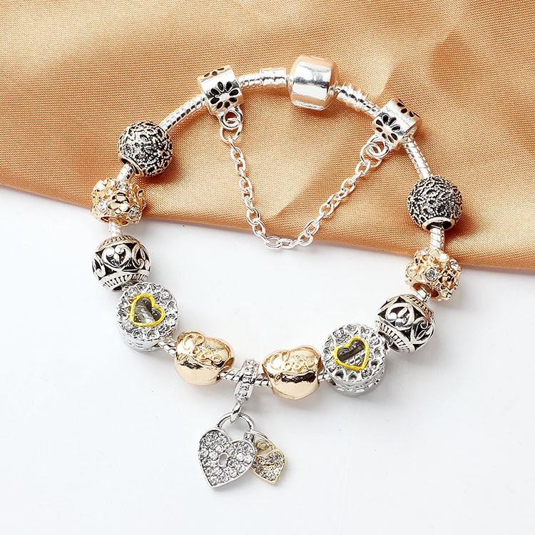 Pandora Bracelet Pandora New Romantic Summer Style Diamond Bright Heart Lock Shopee Malaysia