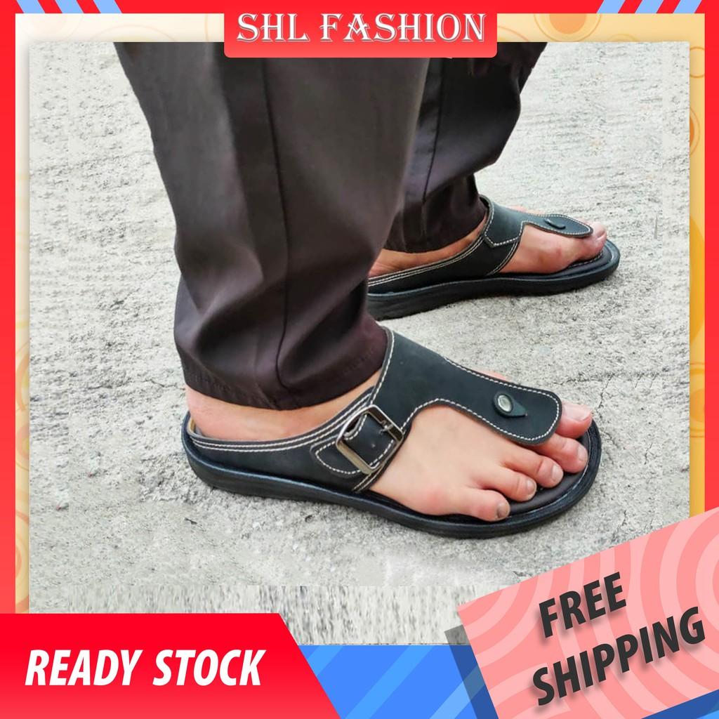 SHL Men PU Leather Sandal Advanced Selipar Kasut Lelaki size 40-44【男士拖鞋】- 3611