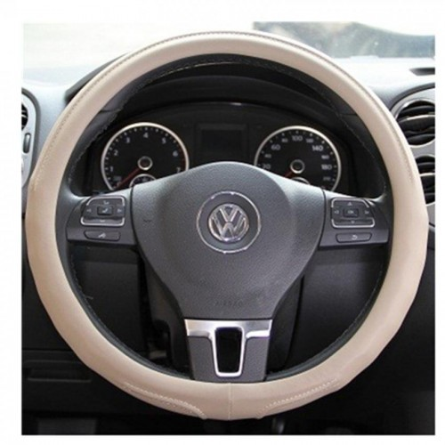 """Circle Cool, Beige Leather Steering Wheel Cover Medium 14.25"""" to 15.25""""Universal"""