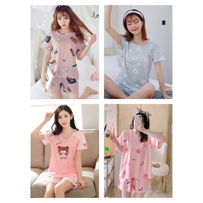 [READY STOCK] WOMEN SHORT SLEEVE T-SHIRT & SHORT TROUSER SLEEPWEAR PYJAMAS SET WITH PRINTED DESIGN - FREE SIZE