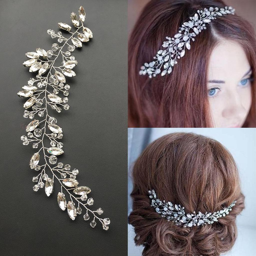 bride headband wedding rhinestone leaves hair accessories