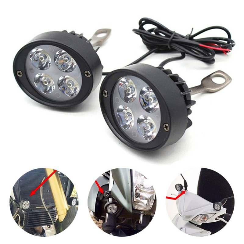 1 Pair Universal Motorcycle Headlights with Switch Motorcycle Front Spotlights Universal Motorcycle Headlight LED Head Light Spotlight Lamp