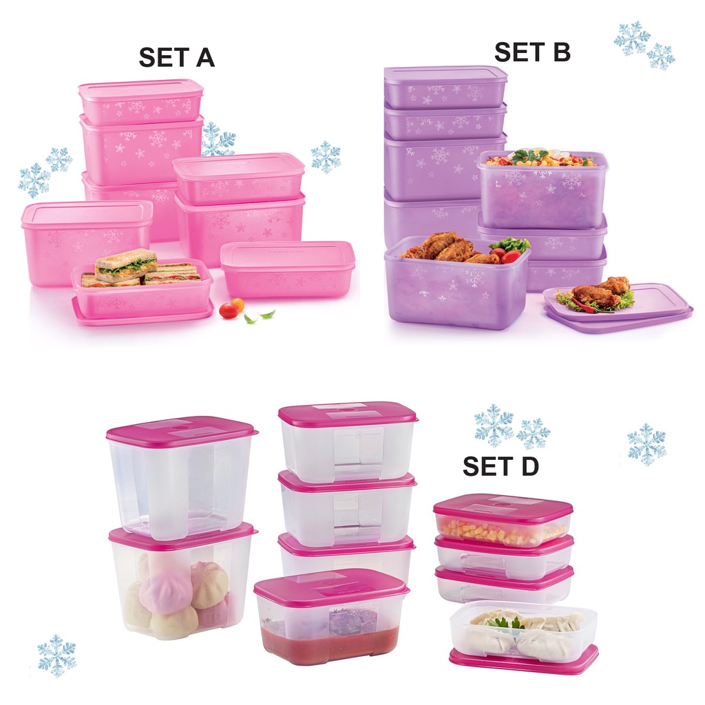 TUPPERWARE Chill Freeze Medium Set (8pcs) / Snowflake Square Round  Set ( 8pcs) /  FreezerMate Small Set (10/12pcs)