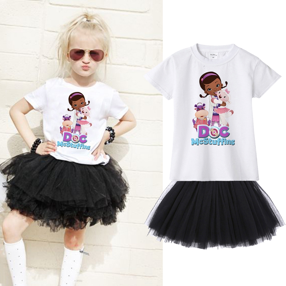 2PCS Kids Girls Birthday Party Outfits Letter T-shirt Tops Pleated Skirt Sets
