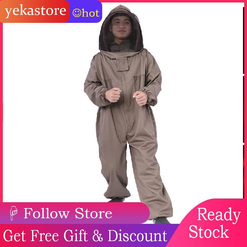 Cotton Full Body Beekeeping Bee Keeping Suit With Veil Hood X//L//XL Optional