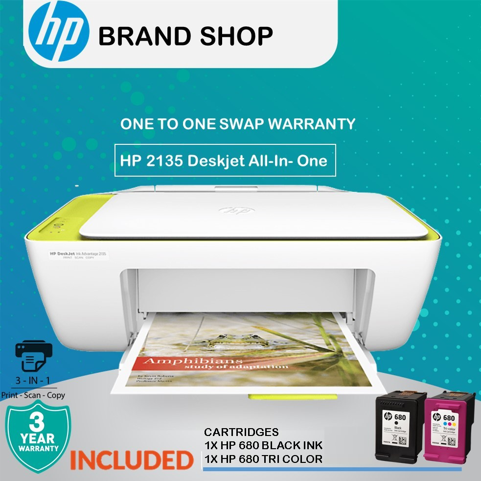 HP Deskjet Ink Advantage 2135 Home Use All In One Printer (Print, Scan,  Copy) (Include Ink) FREE HP680 INK