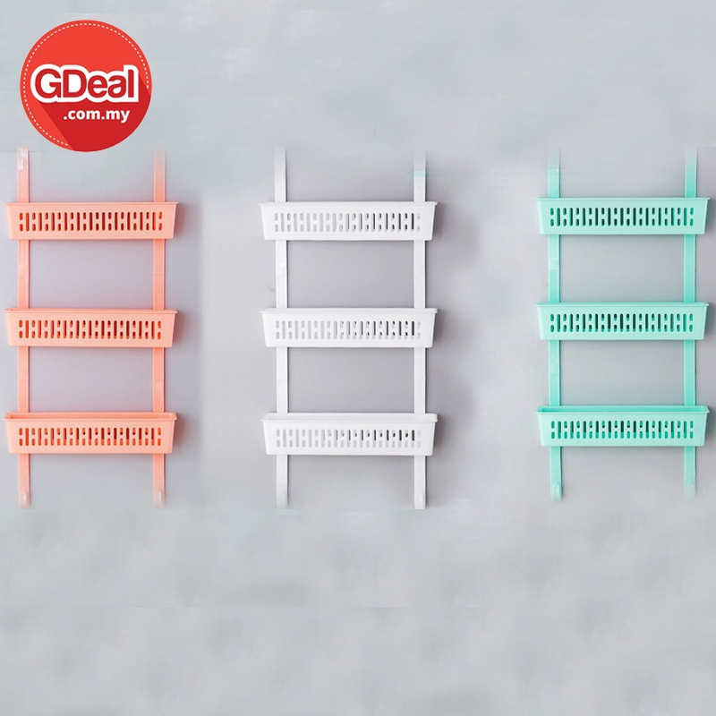 GDeal Three Layer Punch Free Refrigerator Rack Wall-mounted Kitchen Bathroom Rack With 3M Sticky Foam Rak رق
