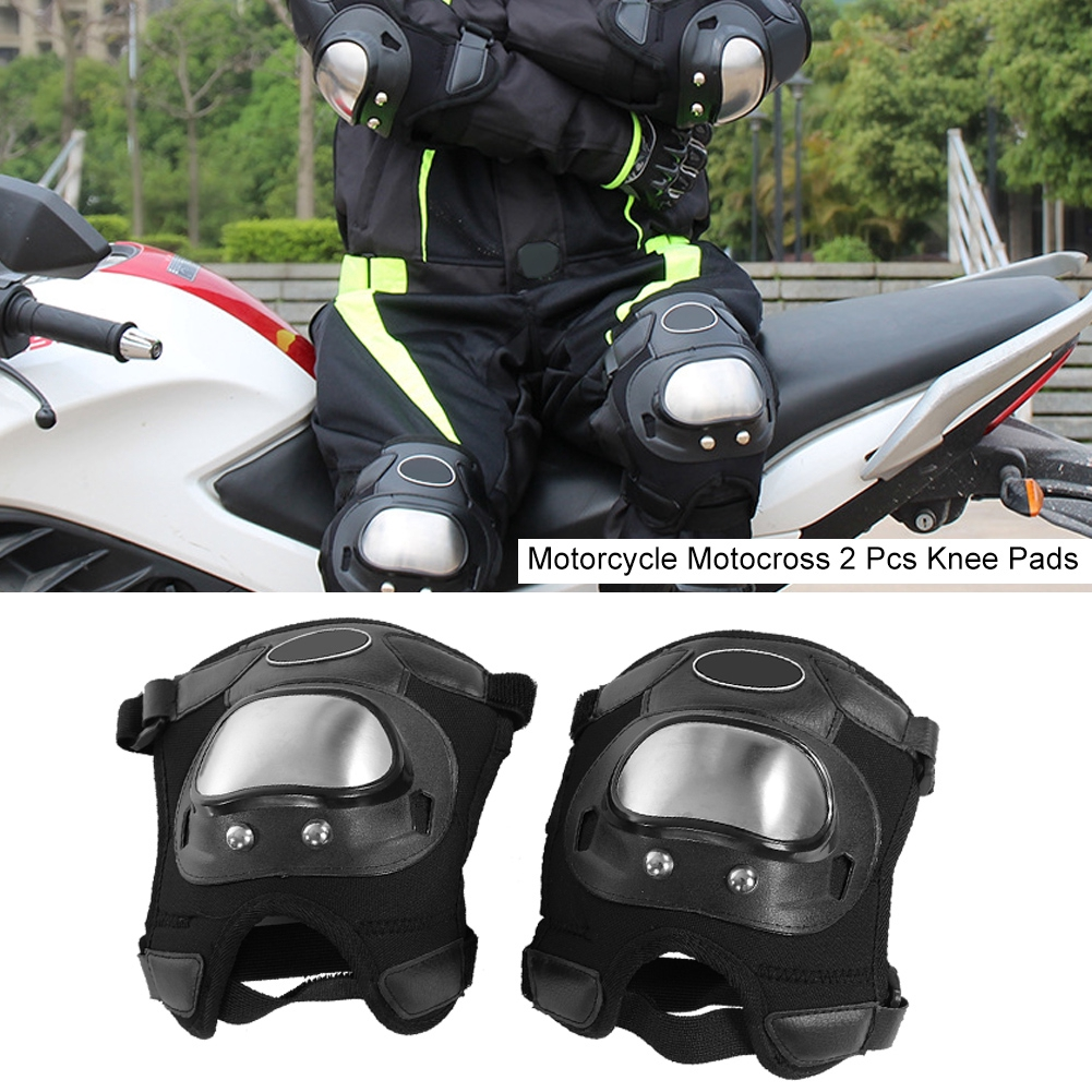 Motorcycle Armor Knee Pads Elbow Protector Set MTB Stainless Steel Shin Guards