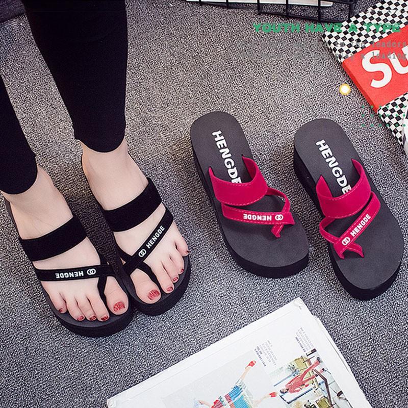 e0a37bd850 Women Wedge Platform Flip Flops Slippers