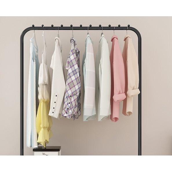 Clothing Hanging Garment Rack, Commercial Clothing Rolling Rack with Mesh Storage Shelf on Wheels