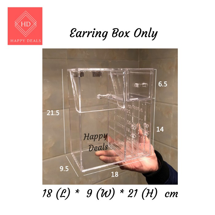 Happy Deals Acrylic Make Up Brush Holder Dustproof Cosmetic Organizer Holder Case stand Brush Storage with extra pearls