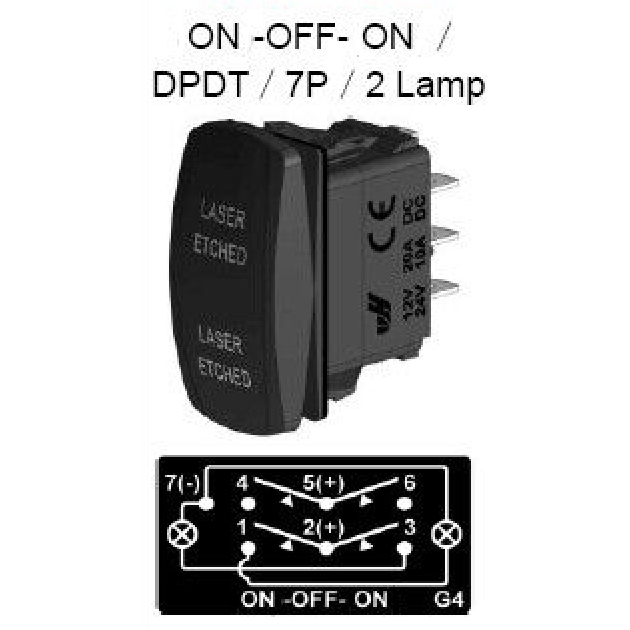 GREEN DUAL LED LIGHT MOMENTARY ROCKER SWITCH LASER ETCHED 20A 12V WINCH IN//OUT