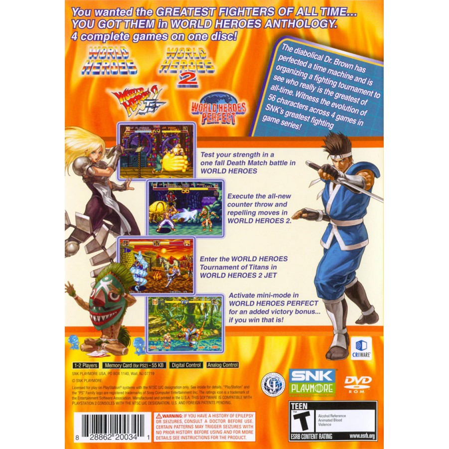 PS2 Game World Heroes Anthology , English version, Fighting Game