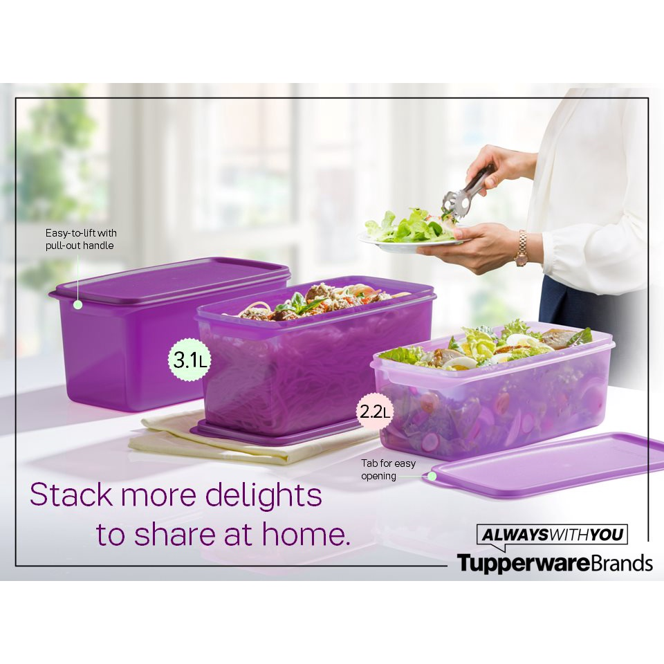 Tupperware Chill N Serve Fresh & Cool Stacker Set Fridge Container / Vegetables Keeper