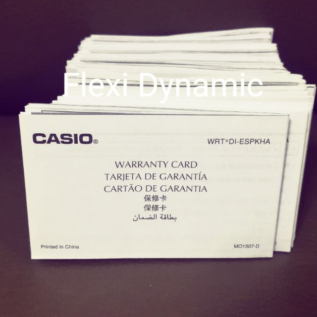 Casio and Baby-G warranty card