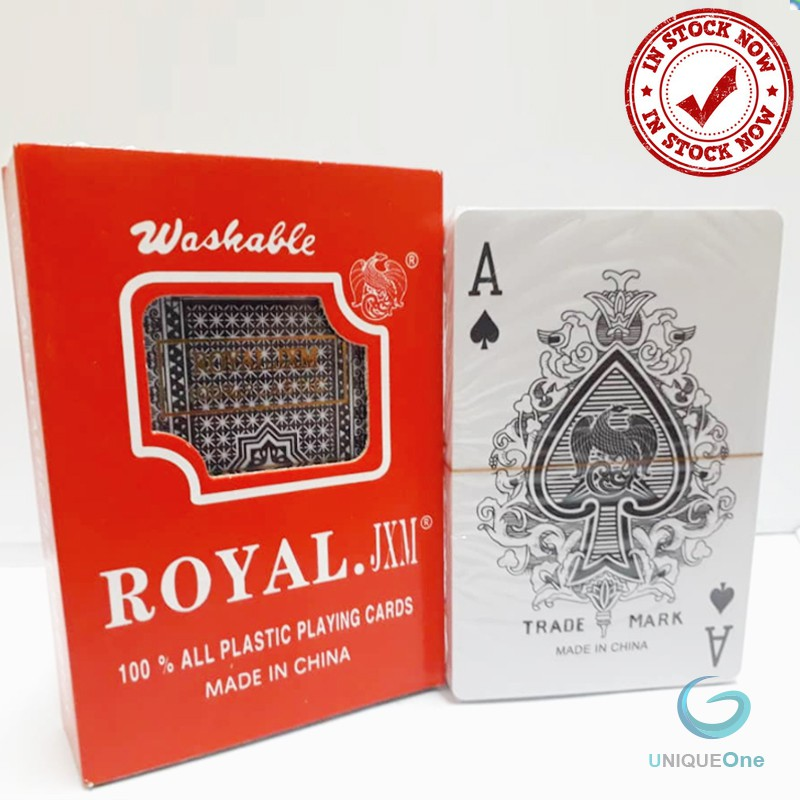 Royal 100% Plastic Playing Cards game Family Party 56pcs/SET with cover box Ready Stock