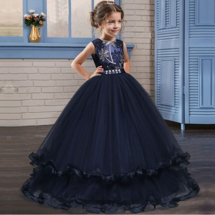 fddcc2bb5f566 Christmas Lace Dress Girls Wedding Party Dress Elegant Long Flower Dresses