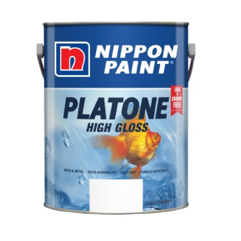 1L NIPPON PAINT PLATONE HIGH GLOSS WOOD & METAL PAINT ( BLACK / WHITE)