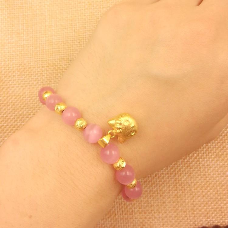 60e928af2 Hello kitty bracelet Natural crystal cute bracelet female brass gold plated