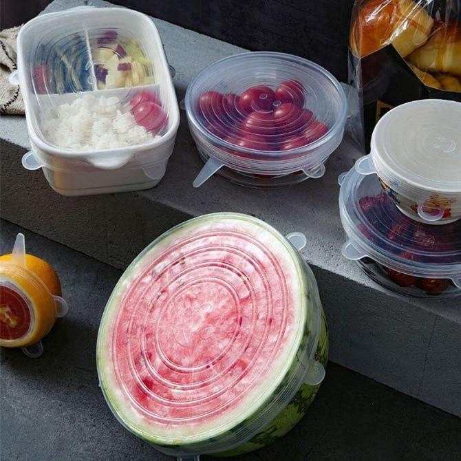 Silicone Lids Saran Wrap Stretch Lids Reusable Food Storage Cover Food Cover Penutup Segar Silikon Fruit Fresh Cover Foo