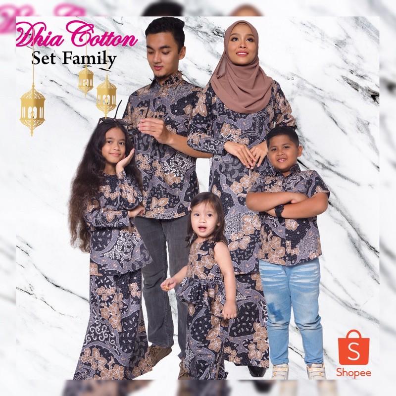 Set Sedondon Family Kurung Moden Kemeja Batik - Black
