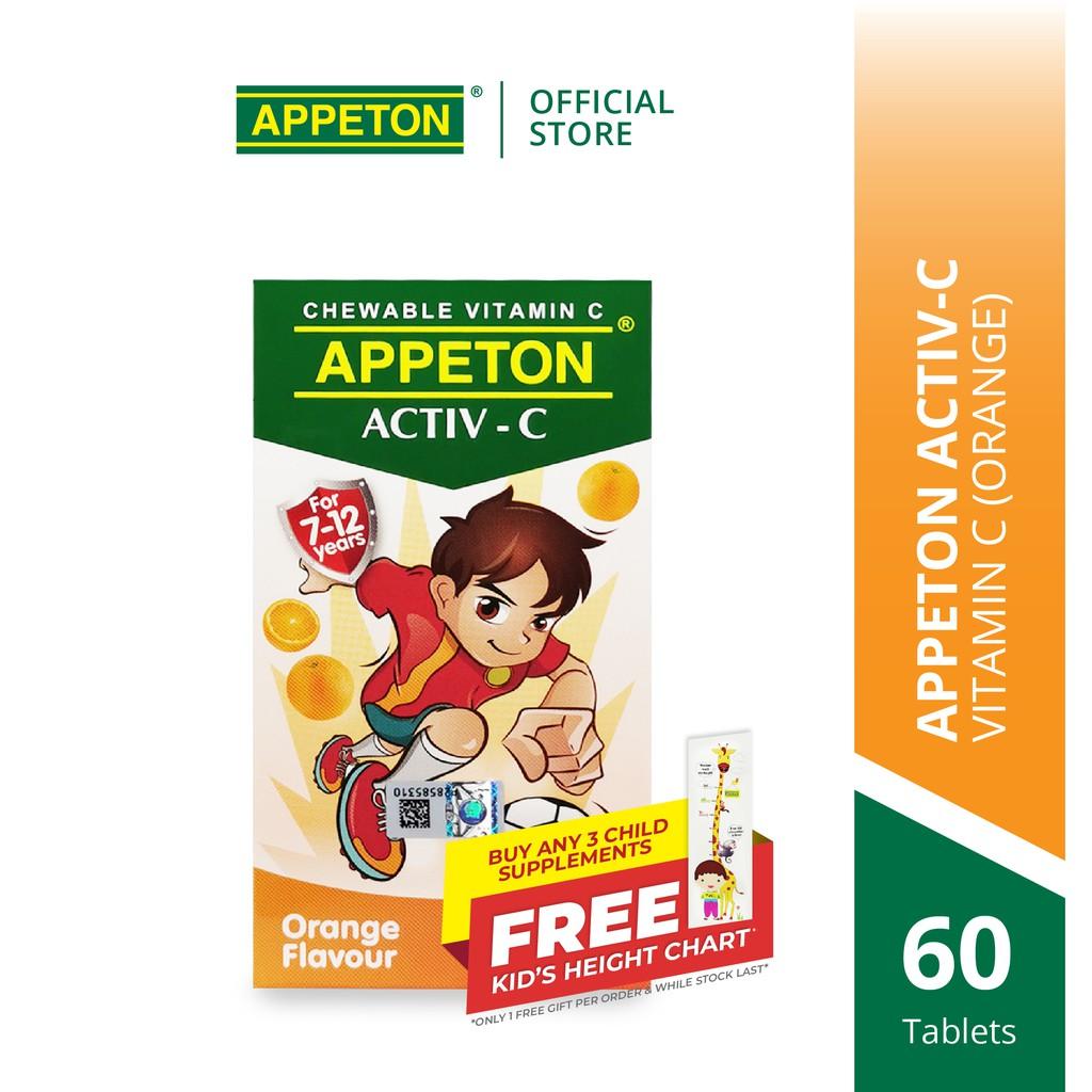 APPETON ACTIV-C 100mg Chewable Tablet for 7-12 Years Old Orange for Children Immunity (60's)