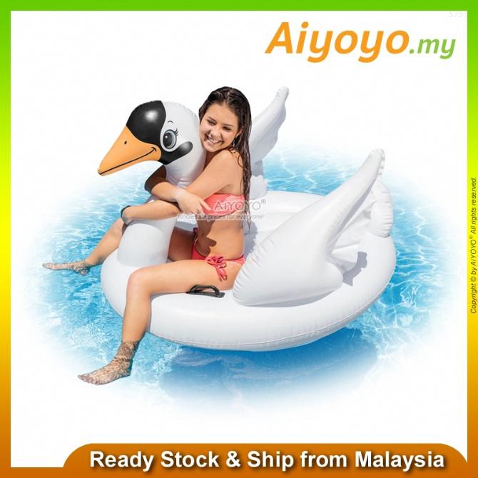 INTEX Inflatable Swim Swan Ride On Pool Float Swimming Pool Swimming Ring Swimming Float Baby Kids Pelampung Duduk 57557