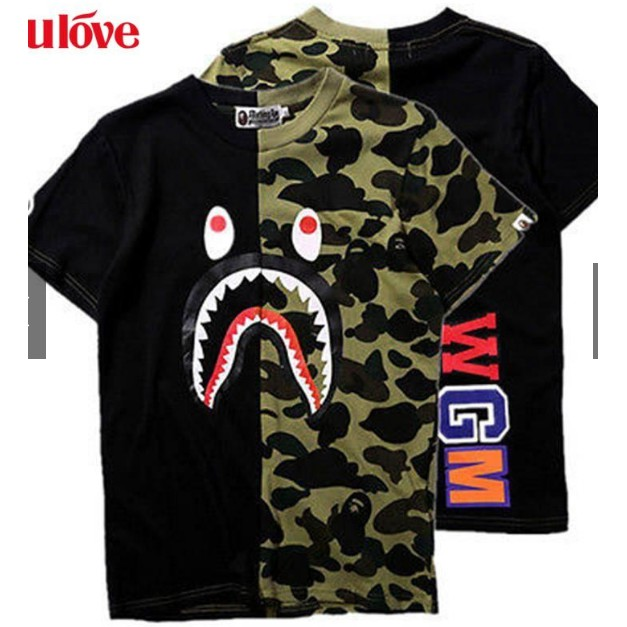 a0ce1a60b75 ProductImage. ProductImage. Mens Bape A Bathing Ape Shark Head Camo Army T- shirt ...