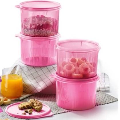 Tupperware Snack N Stack 1.7L (4pcs) pink