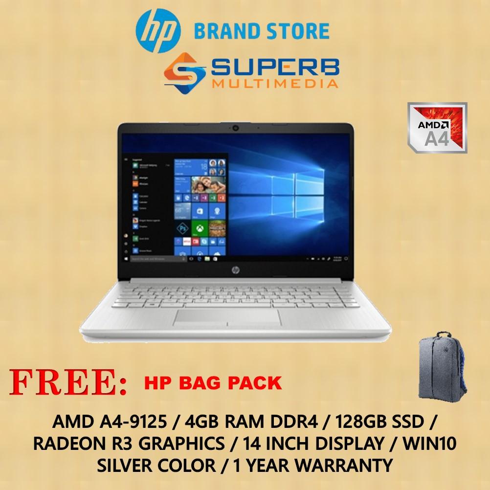 Hp Notebook 14s Dk0106au Laptop A4 4gb Ram 128gb Ssd Win10 Silver Shopee Malaysia