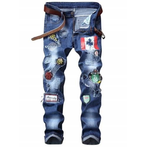 FLAG GRAPHIC PRINT STRAIGHT DISTRESSED JEANS (BLUE)